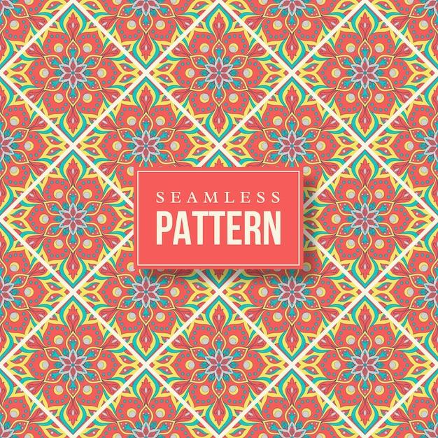 원활한 손으로 그린 된 만다라 패턴입니다. 오리엔탈 스타일의 빈티지 요소. 무료 벡터