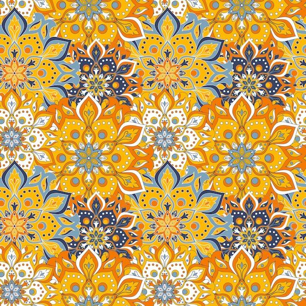 シームレスな手描きの曼荼羅のシームレスなパターン。 無料ベクター