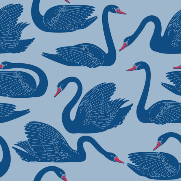 Seamless hand painted black swans pattern. Premium Vector