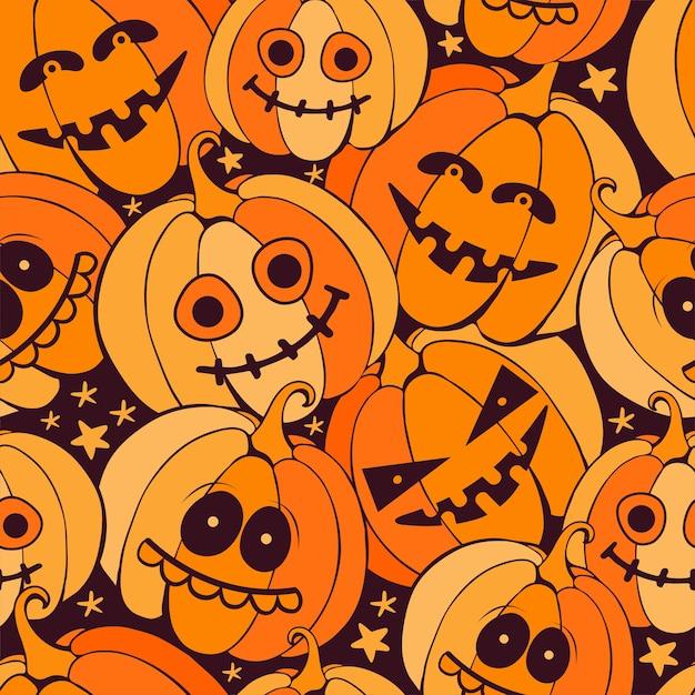 어두운 배경에 무서운 오렌지 호박과 완벽 한 해피 할로윈 패턴입니다. 손으로 그린 된 벡터 프리미엄 벡터