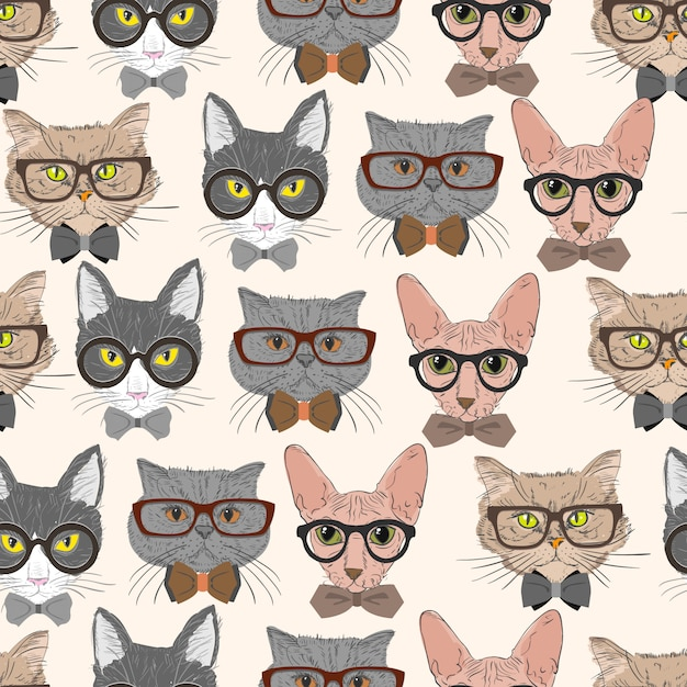 Seamless hipster cats pattern background Free Vector