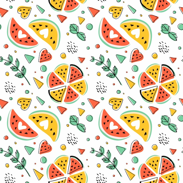 Seamless hipster pattern with watermelons, mint and geometric figures. Free Vector