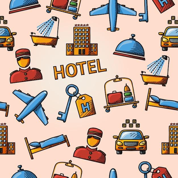 シームレスなホテルの手描きパターン Premiumベクター