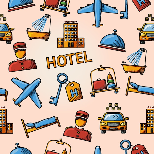 Seamless hotel handdrawn pattern Premium Vector