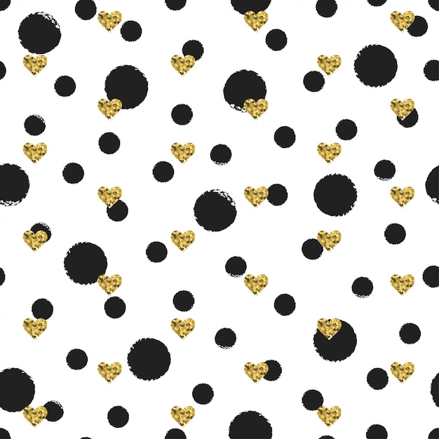 Seamless ink polka dot pattern with gold heart Premium Vector