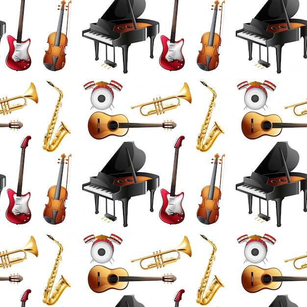 シームレスな楽器 Premiumベクター