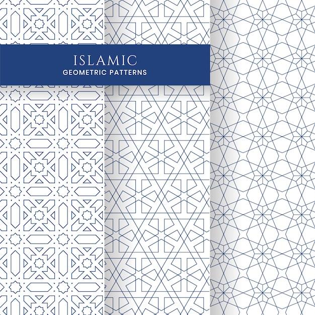 Коллекция бесшовных исламских арабских геометрических марокканских фонов Premium векторы