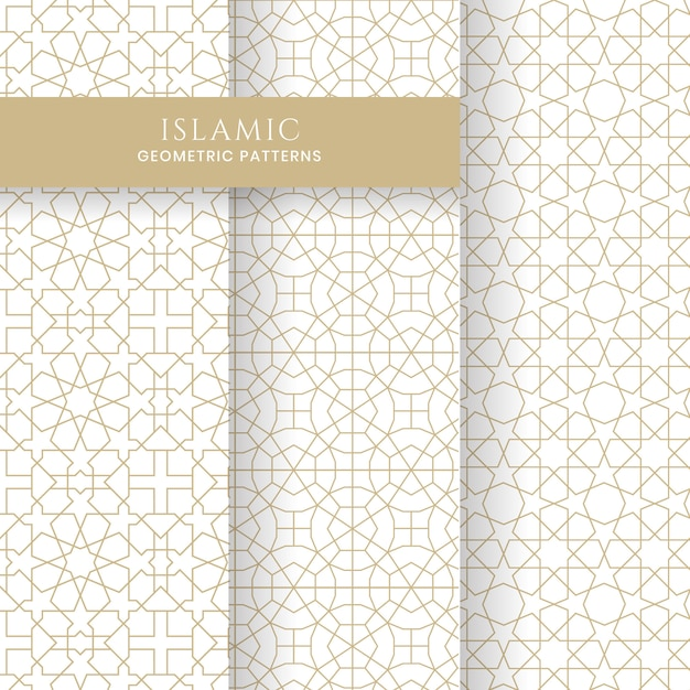 Seamless islamic arabic geometric moroccan patterns backgrounds collection Premium Vector