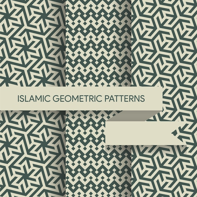 Seamless islamic geometric patterns collection Premium Vector
