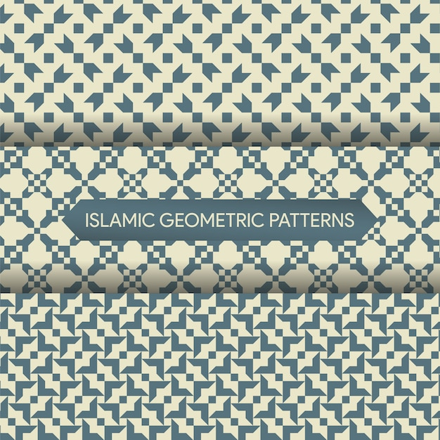 Seamless islamic geometric patterns collection Premium Vector