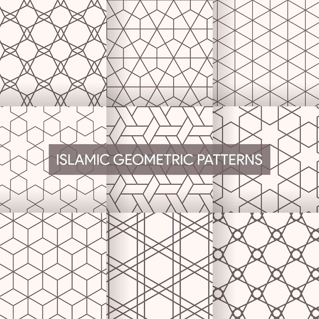 Premium Vector Seamless Islamic Geometric Patterns Textures Collection