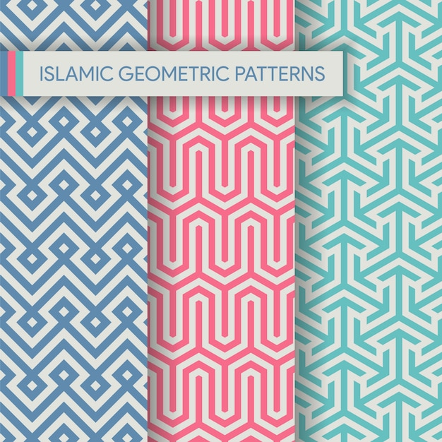 Seamless islamic geometric patterns textures collection Premium Vector