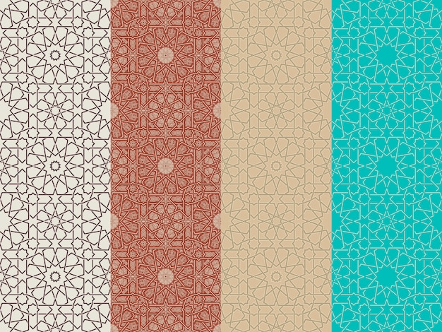 Seamless islamic moroccan patterns set Premium Vector