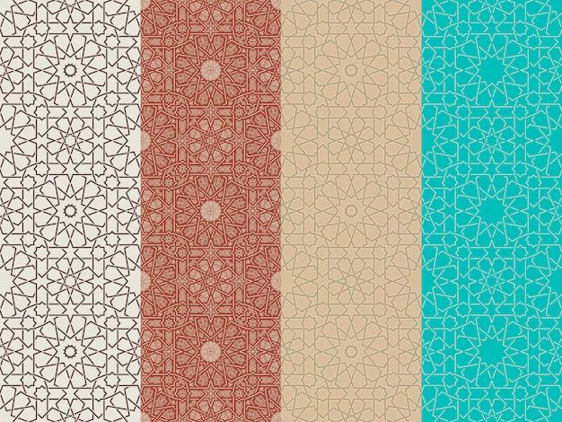 Набор бесшовных исламских марокканских узоров Premium векторы