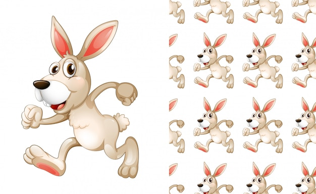 Seamless and isolated animal pattern cartoon Free Vector