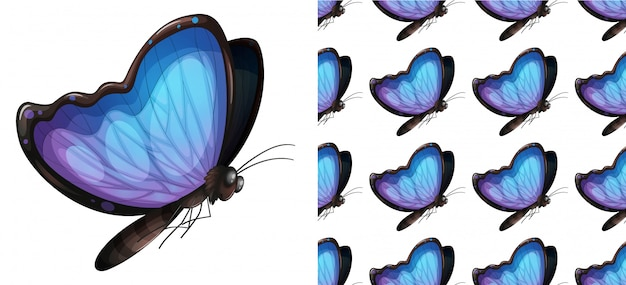 Seamless and isolated butterfly pattern cartoon Premium Vector