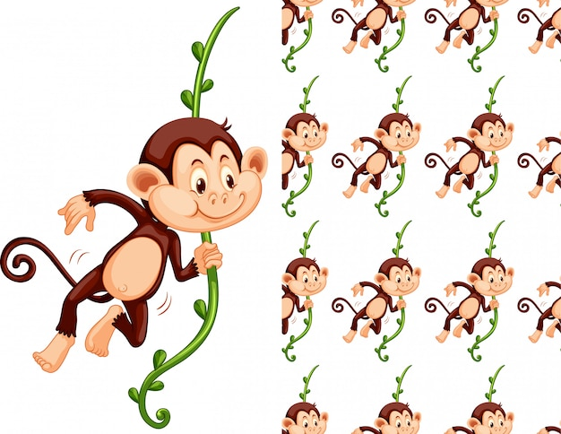 Seamless and isolated monkey pattern cartoon Free Vector
