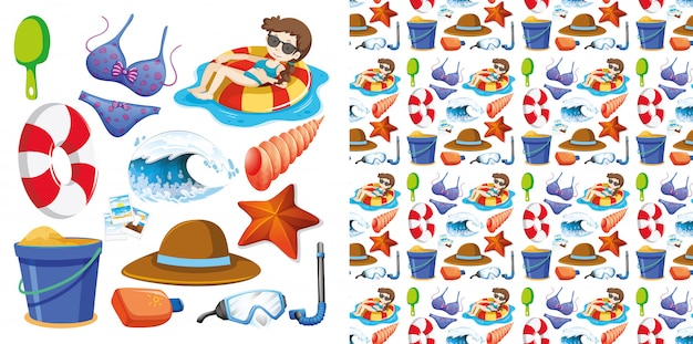 Seamless isolated set of summer holiday Free Vector