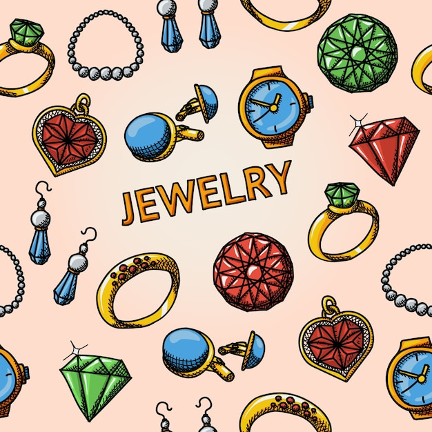 Seamless jewelry handdrawn pattern Premium Vector