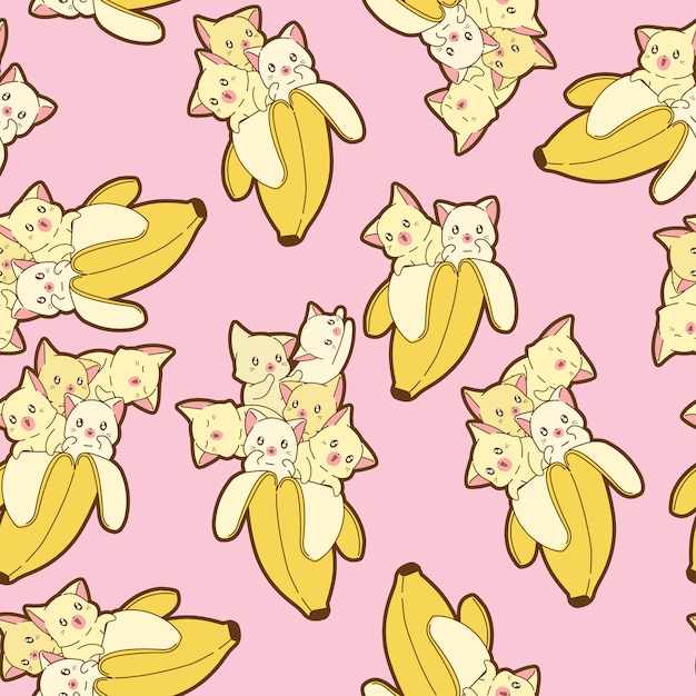 Seamless kawaii cats in banana pattern. Premium Vector
