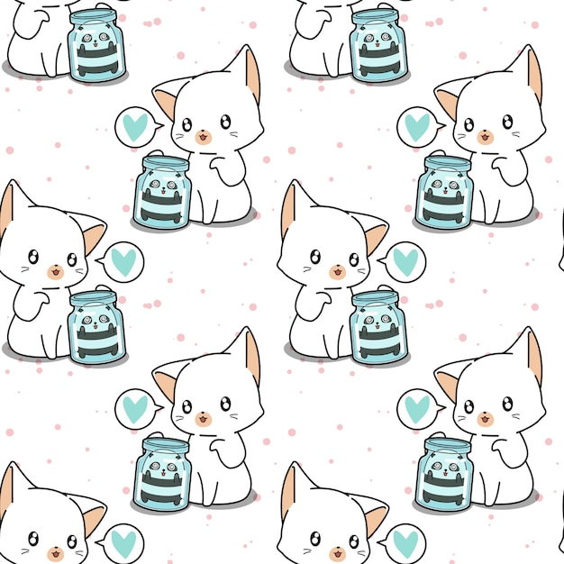 Seamless kawaii panda in the bottle and giant cat pattern Premium Vector