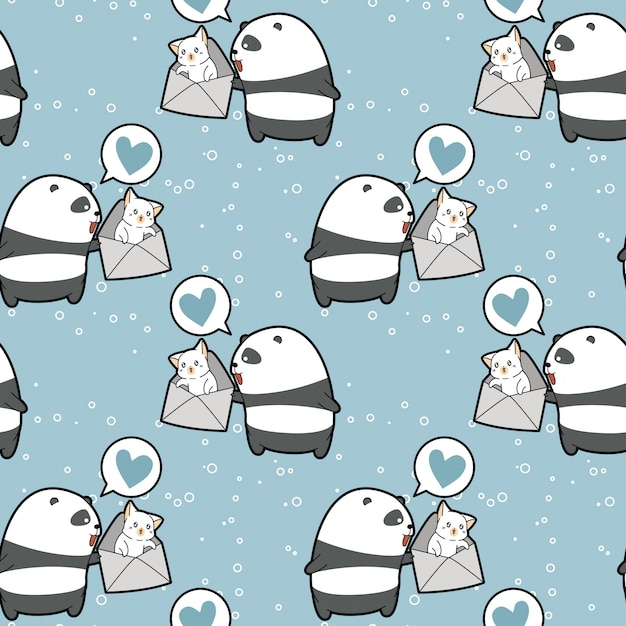 Seamless kawaii panda is holding cat in the envelope pattern Premium Vector