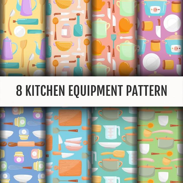 Seamless kitchen tools pattern set. Free Vector