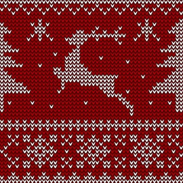 Seamless knitted pattern with deer, christmas trees and snowflakes. Premium Vector