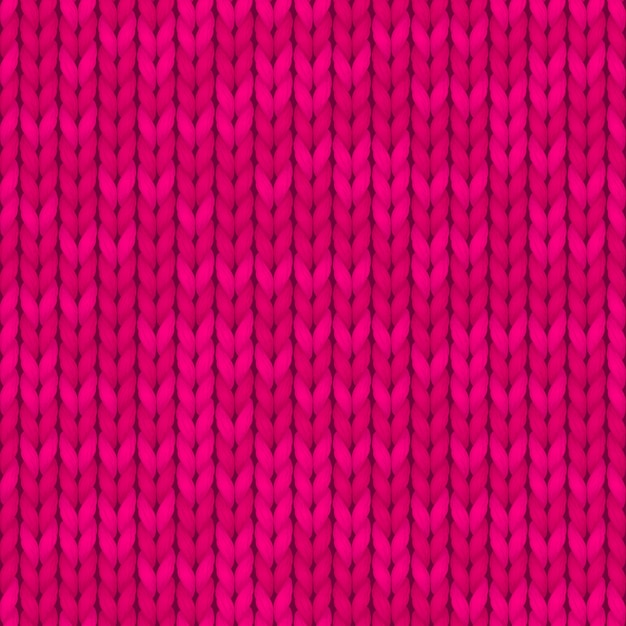 Seamless knitted pattern. woolen cloth. pink knitted pattern. Premium Vector