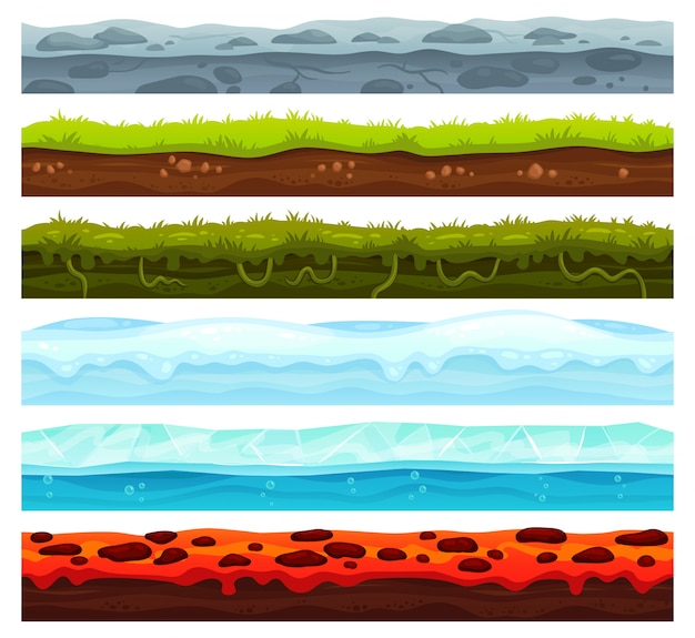 Seamless land layers. dirt ground landscape game asset, ice with snow caps and lava floor. cartoon surface vector assets Premium Vector
