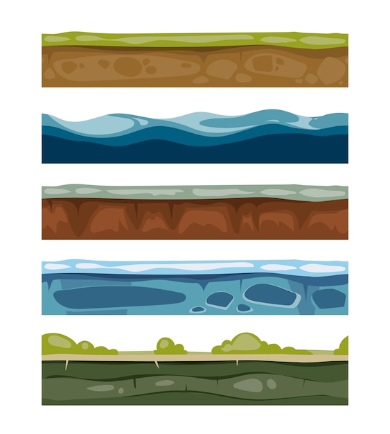 Seamless landscape elements. ground, ice, water, grass surfaces for computer games. set of layers fo Premium Vector
