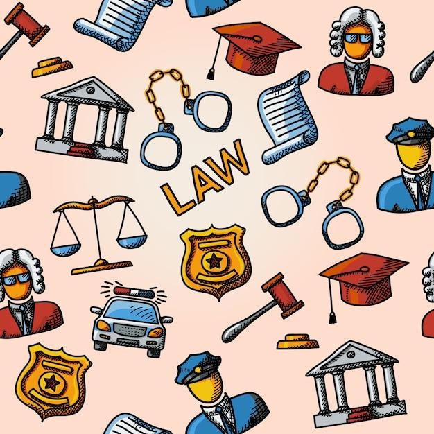 スケールとハンマー、裁判所、裁判官、警察のバッジ、手錠、弁護士の帽子、パトカー、判決文書を備えたシームレスな法律の手描きパターン。 Premiumベクター