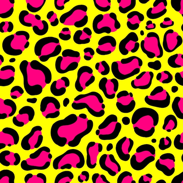 Seamless leopard pattern neon yellow and pink color. Premium Vector