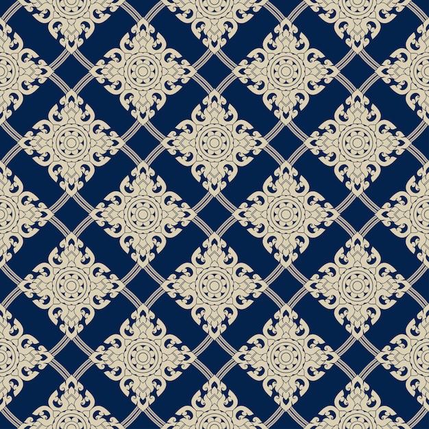Seamless line thai gold pattern on blue, the arts of thailand, thai pattern. Premium Vector