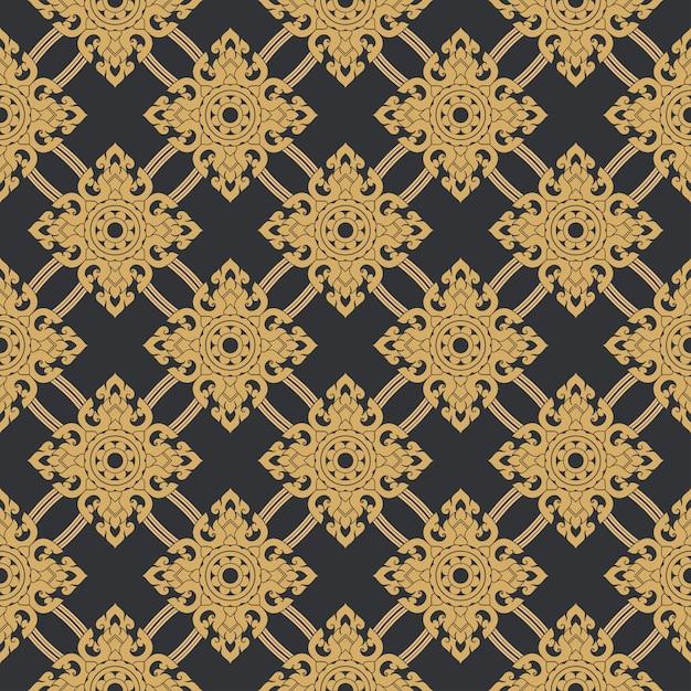 Seamless line thai gold pattern Premium Vector