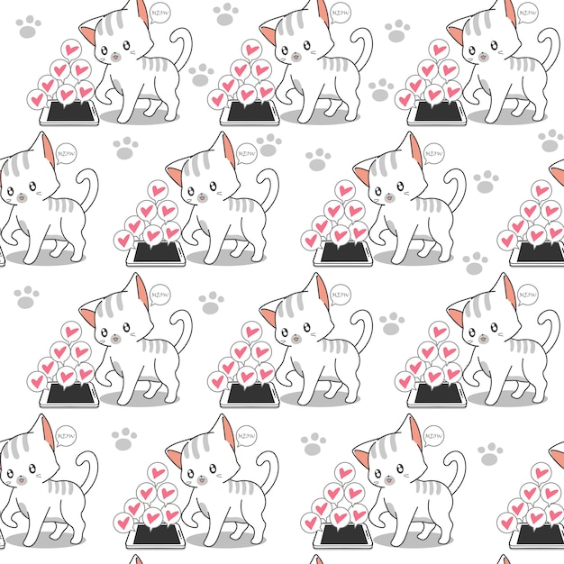 Seamless little cat and mobile phone pattern. Premium Vector
