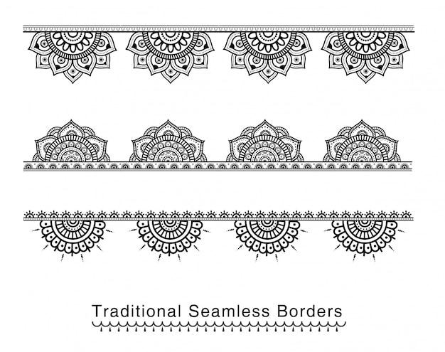Seamless mandala border designs high details Premium Vector