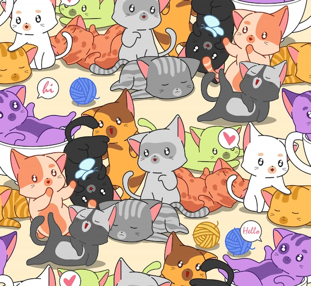 Seamless many little cute cats pattern. Premium Vector