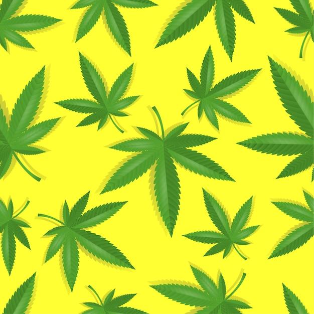 Seamless marijuana cannabis pattern Premium Vector