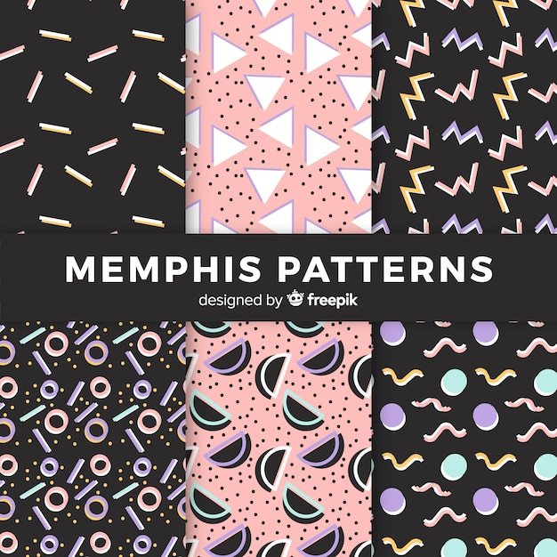 Seamless memphis pattern collection Free Vector