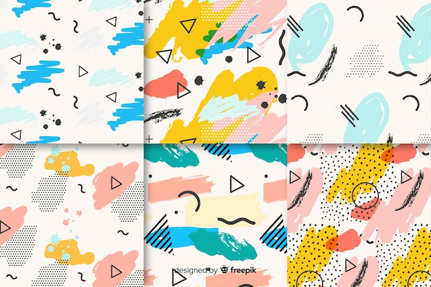 Seamless memphis pattern pack Free Vector