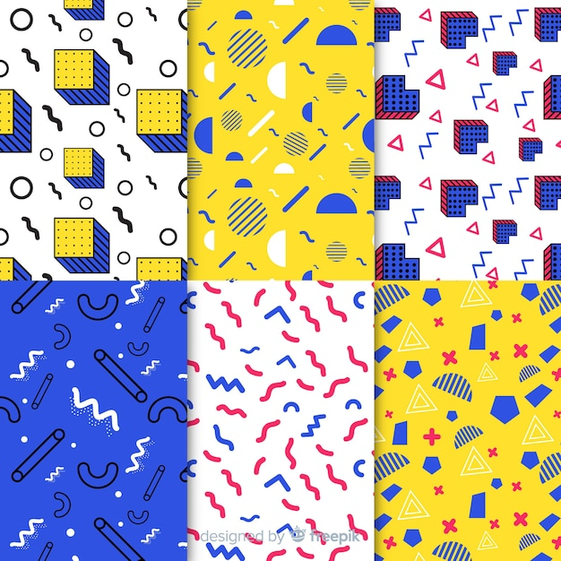 Seamless memphis pattern pack Free Vector