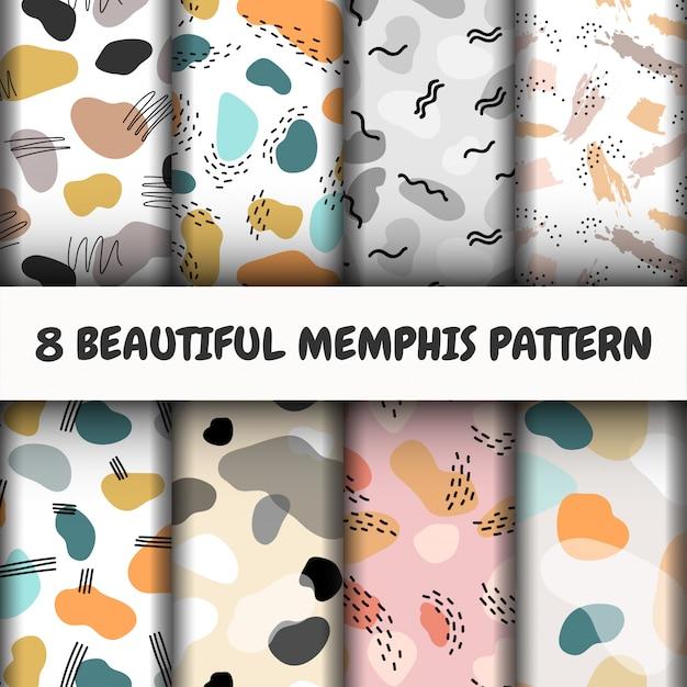 Seamless memphis pattern set. Free Vector