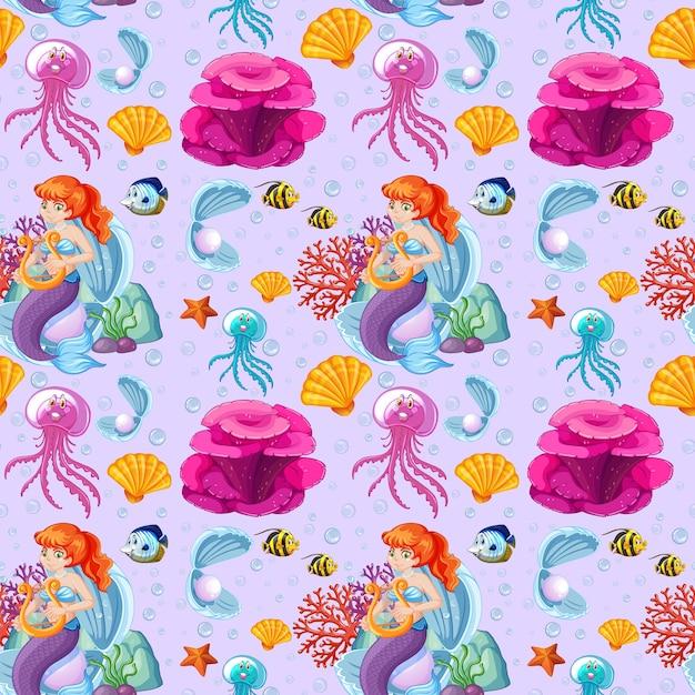 Бесшовные мультяшный стиль русалки и морских животных на фиолетовом Бесплатные векторы