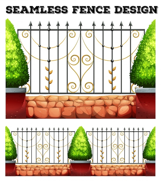 Seamless metal fence design with bushes Free Vector