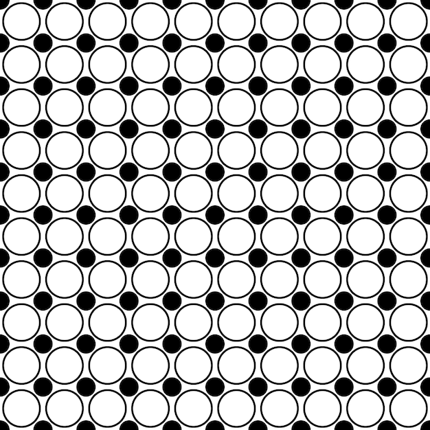 Seamless monochrome circle pattern - abstract geometric vector background from dots and circles