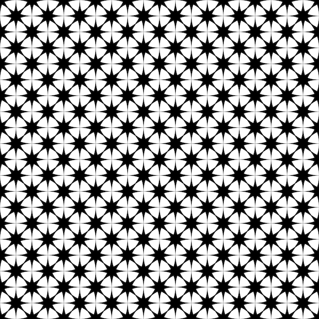 Seamless monochrome star pattern - vector background graphic design from geometric polygonal shapes