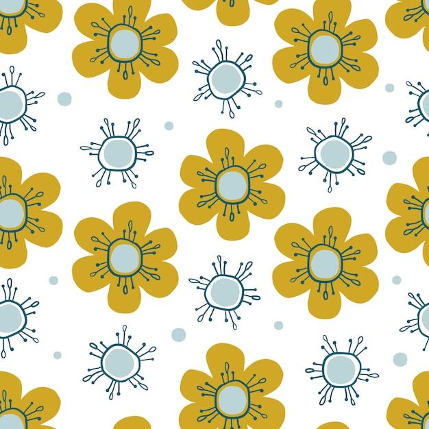 손으로 원활한 자연 패턴 배경 그리기 노란색과 파란색 꽃 프리미엄 벡터
