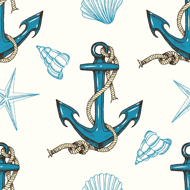Seamless nautical pattern with hand drawn anchors and shells Premium Vector