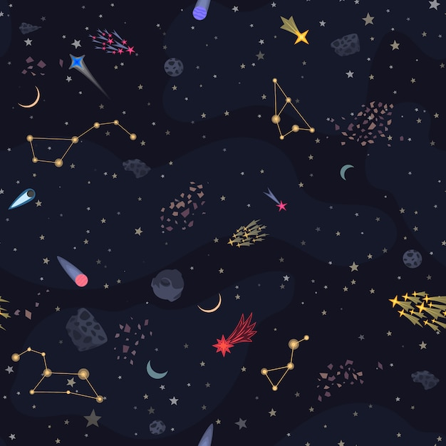 Seamless night sky backround Premium Vector